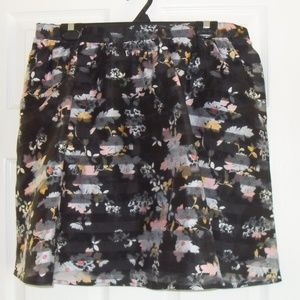 Black Skirt with Flower Details, XL, Brand New